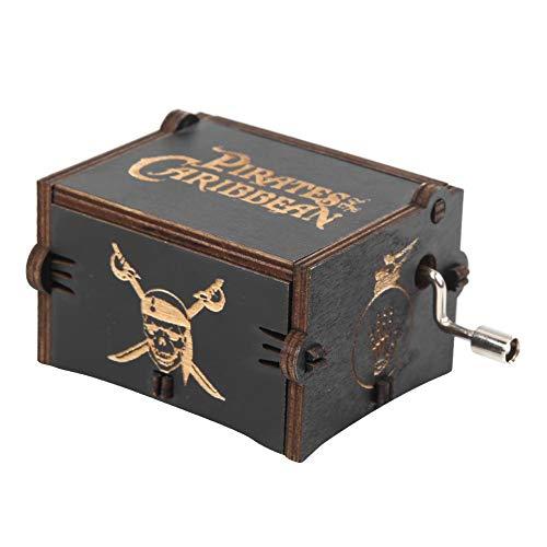 G/N Caja de música Caja Musical grabada con manivela-Piratas del Caribe Cajas Musicales de Madera Vintage Decoración del hogar Adorno niños