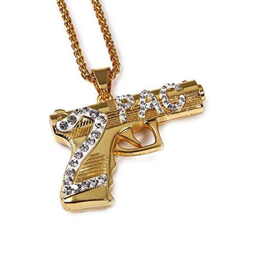 GuDeKe Simple de la Manera Mens plateó 2Pac Arma de la Pistola Collares Hip Hop con 75cm Cadena