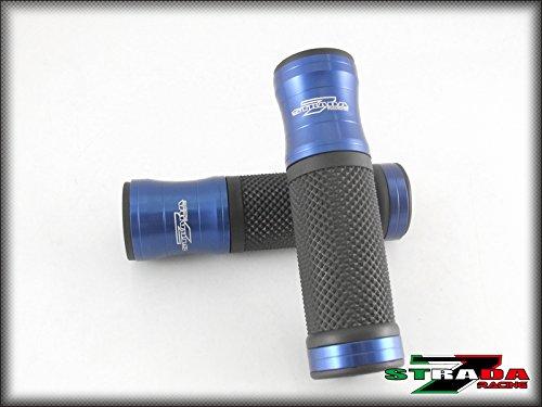 Strada 7 Racing CNC Aluminum Hand Grips Blue For Kawasaki ZX6R/636