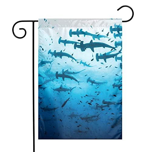 Martillo tiburones en las islas, banderas de jardín para interiores y exteriores, decoración de patio decorativo para fiestas familiares