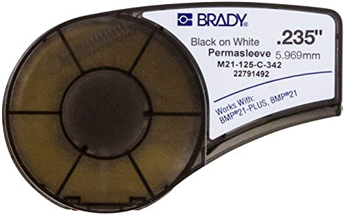 """Brady Official (M21-125-C-342) PermaSleeve Heat-Shrink Polyolefin Wire Marking Sleeves, Black on White - Designed for BMP21 and BMP21-PLUS Label Printers - 7' Length, 0.235"""" Width"""