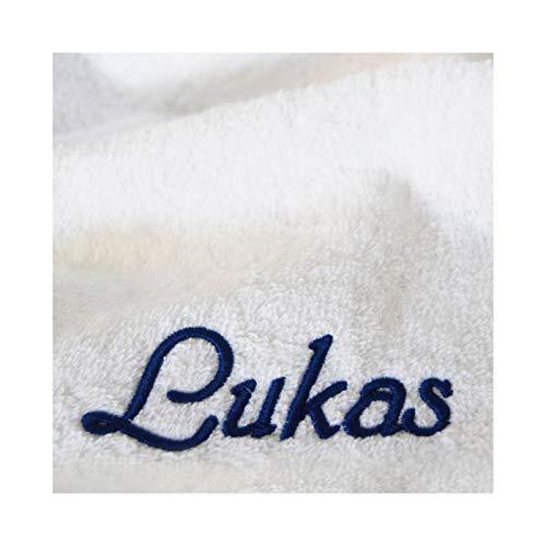 XXL-Luxus-Saunatuch mit Namen / Wunschbegriff bestickt, 90 x 220 cm, Weiß, Stickfarbe Dunkelblau, extra schwere 600g/m² Qualität, Handtuch Supreme, 100% Baumwolle, Top-flauschiges Walkfrottiertuch