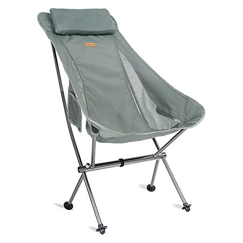 Campingstuhl hochlehner, Outdoorstuhl faltbar leicht, strandstuhl klappbar, anglerstuhl, Reisestuhl, Kleiner, kompakt ultraleichter für Outdoor, Zelten, Picknick, Wandern, Camping Chair