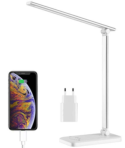 Lampada da Scrivania, Lampada da Tavolo LED Pieghevole con 5 Livelli di Luminosità, 5 Modalità di Colore, Timer di 30/60min, Protezione Agli Occhi, Funzione di Memoria, Porta di Ricarica USB