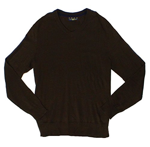 Club Room Mens Small Pullover V-Neck Wool Knit Sweater Brown S
