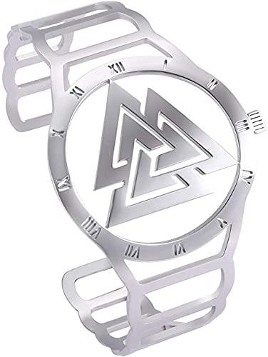 AMOZ Reloj de Acero Inoxidable con Forma de Vikingo Nórdico Odin Valknut Símbolo Pulsera Diseño Hueco Grabado 24 Runas Brazalete para Hombres Mujeres Adolescentes,Estilo 2