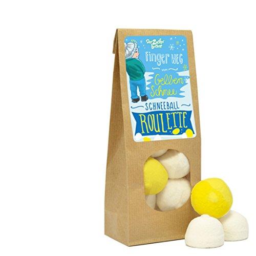 Schneeball Roulette, Finger weg vom gelben Schnee, Nasch- und Spielspaß in einer wundervollen Wundertüte, 80 Gramm Marshmallow-Freude, lustiges Wichtelgeschenk