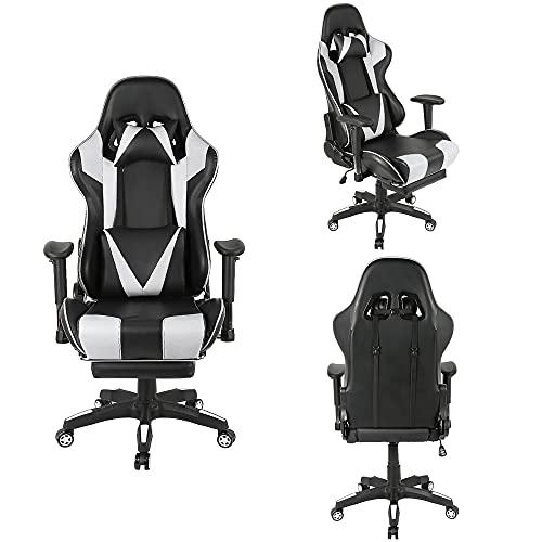 XUANYU Gaming-Stuhl mit Verstellbare Rückenlehne, Armlehnenund und Fußpolster 360 ° Drehbarer Chefsessel Bürostuhl Ergonomischer Stuhl Multifunktions, 4 Farbvarianten (Schwarz-weiß)
