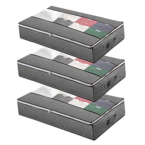 Cajas Almacenaje Ropa, Bolsa de Almacenamiento Debajo de la Cama Tejido de Gran Capacidad VLVEE 3 Pack 100*50*15cm con Ventana Transparente Asas Reforzadas Organizador con Cremallera(Gris)