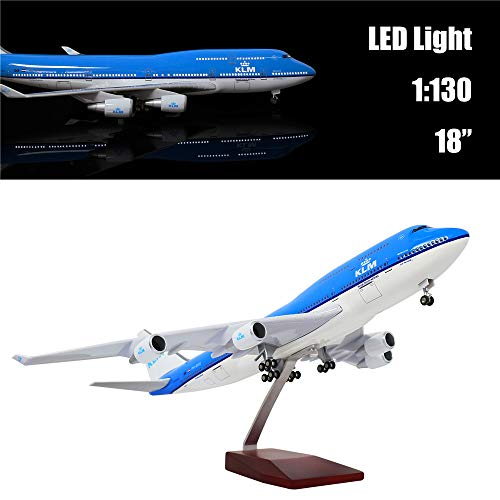"""24-Hours 18"""" 1:130 1 Scale Airplane Model Holland 747 with LED Light(Touch or Sound Control)"""
