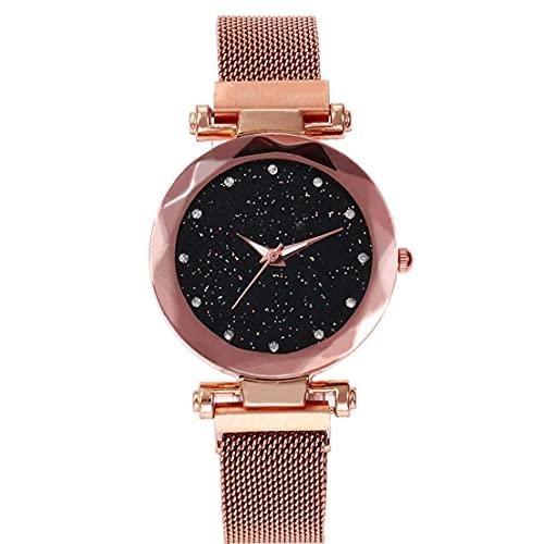 Pinicecore Reloj De Pulsera Cielo Estrellado Relojes De Mujeres Elegantes De La Manera Imán Hebilla De Oro Diamante De Señoras del Reloj De Regalo