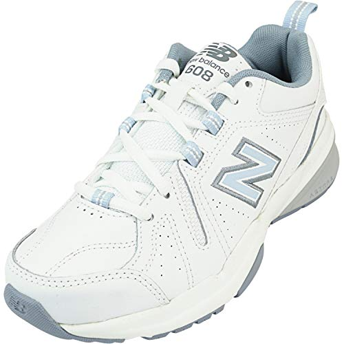 New Balance Women's 608 V5 Casual Comfort Cross Trainer, White/Light Blue, 8.5 W US