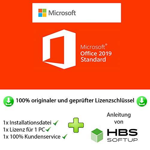MS Office 2019 Standard 32 bit & 64 bit Vollversion Multilingual - Original Lizenzschlüssel per Post und E-Mail + Anleitung von HBS SOFTUP® - Versand max. 60Min