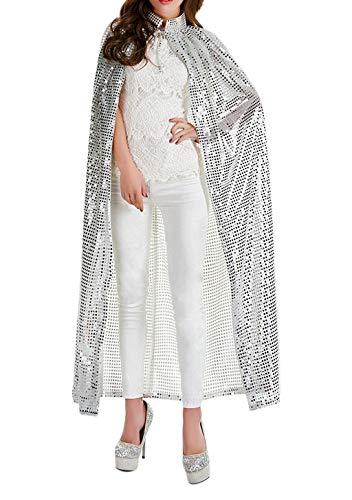 JIAHG Capa larga de lentejuelas para mujer, disfraz de carnaval, disfraz de adulto