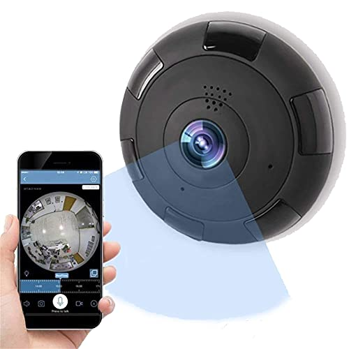 Corlidea 1080P HD Webcam con lente panorámica de ojo de pez de 360 grados, función de visión nocturna por infrarrojos, micrófono y altavoz integrado, compatible con Windows, Mac y Android (negro)