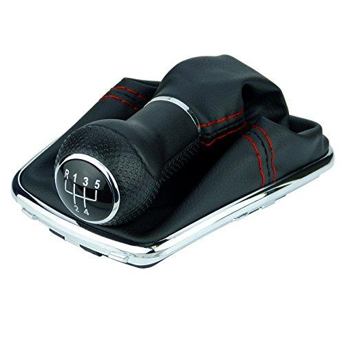 L & P Car Design L&P A251-0 Schaltsack Schaltmanschette Schwarz Naht Rot GTI Look Schaltknauf 5 Gang 23mm kompatibel mit VW Golf 4 VI Chrom Rahmen Knauf Plug Play Ersatzteil für 1J0711113