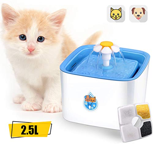 ADOV Fuente para Gatos, 2.5L Dispensador Automático de Agua Eléctrico con 3 Etapas Filtración, Flor Portátil Estilo Bebedero para Gatos, Perros y Pequeños Animales, (Azul)