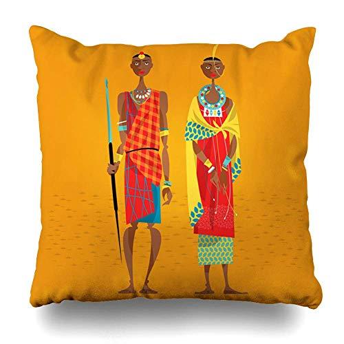 N / A Throw Pillow Cover Square Inches Souvenir Stamm Maasai Paar Afrika Traditionelle Kleidung Frau Menschen Masai Vintage Kleid Schmuck Dekorative Kissenbezug Home Decor Kissen Kissenbezug