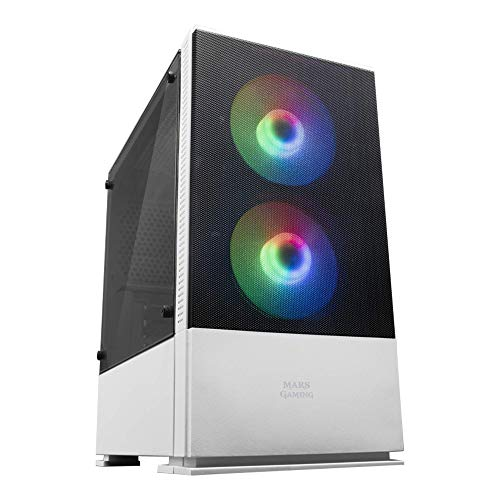 Mars Gaming MCZW, Caja PC Compacta Premium, MicroATX, Panel+Frontal Mesh, Blanco