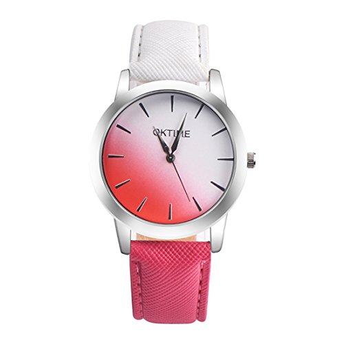 Souarts Damen Armbanduhr Farbverlauf Einfach Stil Analoge Quary Uhr 24cm (Weiß-Rot Farbverlauf)
