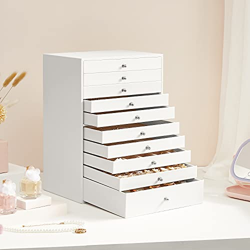 SONGMICS Extra Large Jewellery Box, 10-Layer Storage Case, Faux Leather Organiser, with Drawer, White JBC10W