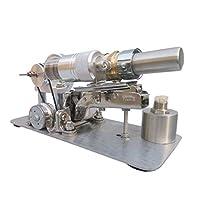 スターリングエンジン DIYメタルシリンダースターリングエンジンモデル発電機マイクロ外部燃焼エンジンステムモデル 物理玩具 (色 : Silver, Size : One size)