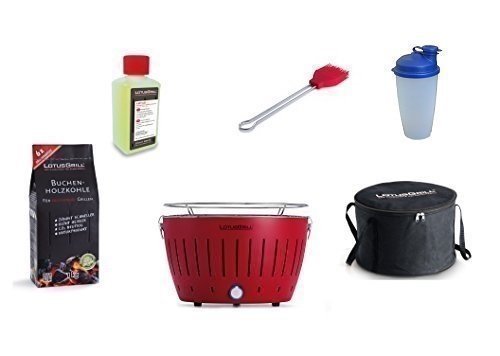 LotusGrill Barbecue Kit de démarrage 1x Lotus Barbecue charbon de bois de hêtre Feu Rouge, 1x 1kg, 1x Pâte combustible 200ml, 1x Pinceau Feu Rouge, 1x Shaker à vinaigrette, 1x sac de transport