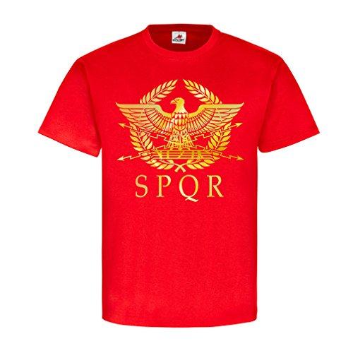 Römer SPQR Rom Abzeichen Gladiatoren Legion Römisches Reich Wappen Legionär Adler SPOR Antike Gold Hemd#21747, Größe:XL, Farbe:Rot