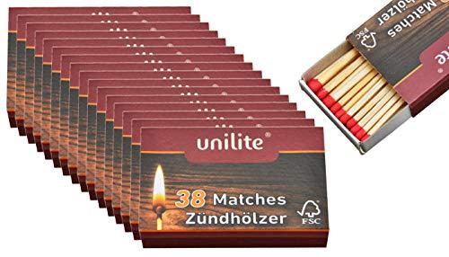 jameitop® Streichhölzer 16 Schachteln Holz/Feuer Zündholzschachtel Zündhölzer 608 Stück Sicherheitszündhölzer, 45mm