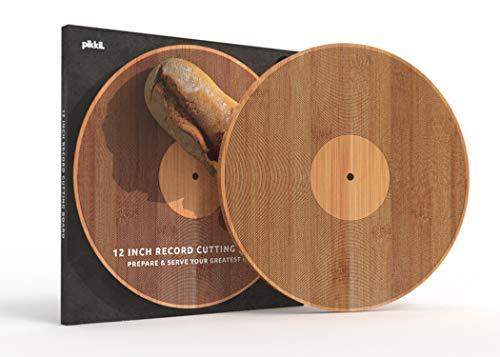 Pikkii Doppelseitiges Schneidebrett und Servierplatte in einem, Premium nachhaltiger Bambus, Vinyl-Schallplatten-Design