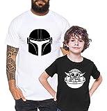 Mandalorian Yoda - Camiseta de Pareja Padre Hijo niño bebé Body cumpleaños - Look de Pareja, Größe2:S, T-Shirts:Camiseta Hombre Blanco