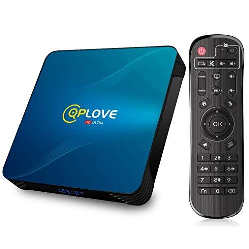 Android 10.0 TV Box, QPLOVE Q8 Android TV Box【4GB RAM 128GB ROM】 RK3318 Quad Core 64Bits CPU Support Dual WiFi 2.4G/5G LAN 100M BT4.0 USB3.0 3D 4K Smart TV Box