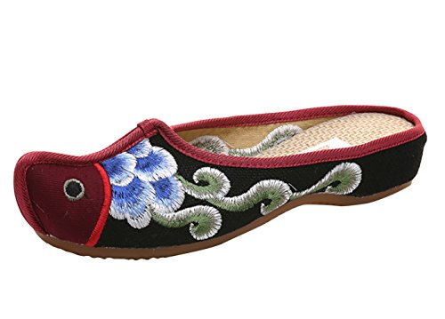 Icegrey Dames Clogs kant tenen gelukkig vissen borduurwerk platte pantoffels schoenen