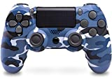 Mando Inalámbrico para PS4, Mando para PS4/Pro/Slim/ PC, Controlador inalámbrico, Gamepad Wireless Bluetooth Controlador Joystick con Vibración Doble/Turbo/ Puerto de Audio (Azul camuflaje)