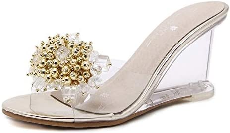 Jiangym Sports San Antonio Mall Accessories Woman Glass Heels S Max 59% OFF Wedge Rhinestone