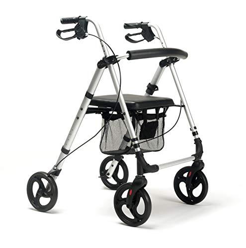 FabaCare Rollator ECO-Plus, Leichtgewichtrollator, Sitzhöhe verstellbar, mit Vollausstattung, Farbe Carbon