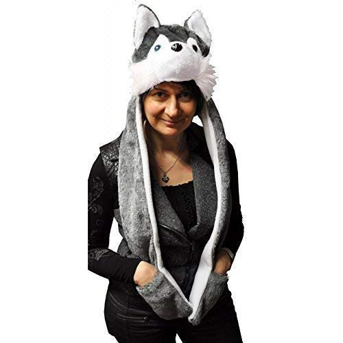 Lively Moments Tiermütze / Plüschmütze temperamentvoller Husky mit Schal