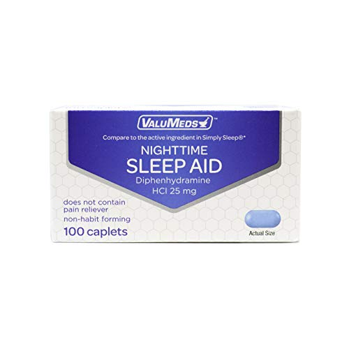 ValuMeds Nighttime Sleep Aid for Adults Diphenhydramine HCl 25 mg (100 Caplets) | Deep, Restful REM Sleeping | Comparable to Tylenol PM Simply Sleep