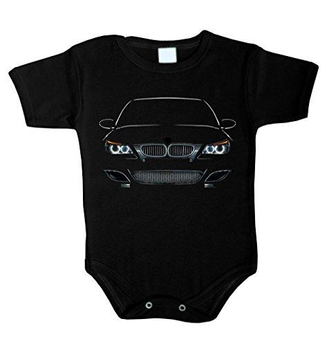 Baby Body inspiriert von M5 E60 Power LED Fan Baby Body Babykleidung Strampler Unterwäsche (80 (12-18 M), SCHWARZ)