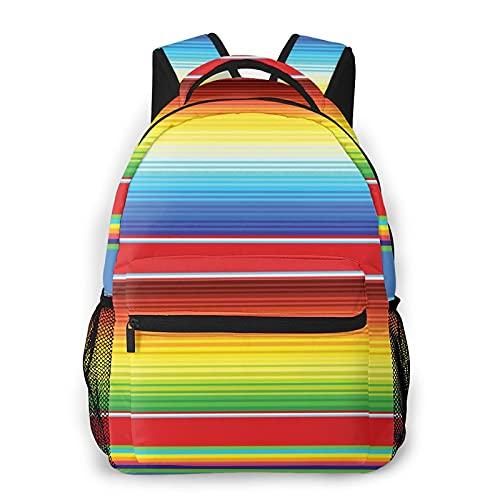 Mochila Paquete de Almacenamiento,Patrón de líneas de alfombra de manta horizontal y coloreada abstracta Diseño abstracto vibrante,Casual Bolsa de Estudiantes de la Escuela Mochila Portátil de Viaje