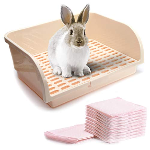 CalPalmy X-Large Rabbit Litter Box with 10 Bonus Pads, Drawer, Corner Toilet Box for Adult Guinea...