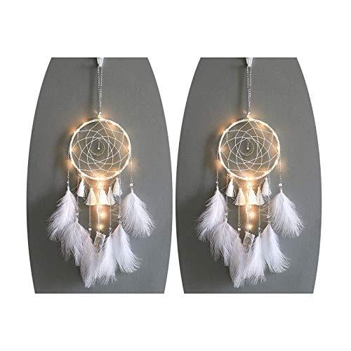 2 x Feder-Traumfänger-LED-Lichterkette, 2 m, batteriebetrieben, hängend, weiß, 15 cm, Länge 58 cm