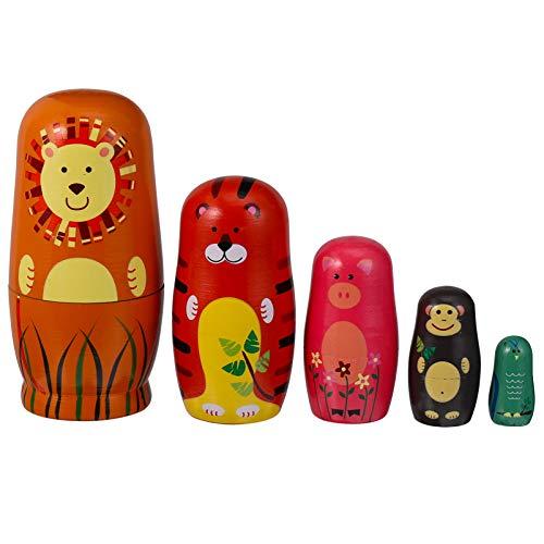 HEALLILY Matryoshka Babuschka madera león tigre figura clásica rusa, muñeca matrioska ruso asombroso adorno de nido ruso niños cumpleaños regalos 5 unidades