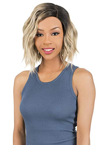 New Born Free HD Part Lace Layered Wavy Short Angled Cut Bob Style Wig with Side Parting Synthetic High Heat Resistant Fibers - HDP05 (1B)