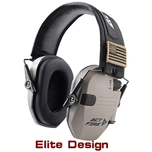 ACTFIRE Shooting Ear Protection Hearing Protection Electronic Shooting Earmuffs NRR 23dB Sound Amplification 8 Times Noise Reduction Electronic Ear Protection for Shooting Hunting Mowing (Elite)