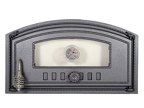 BBQrolling Pizzaofentür Premium 490x280 Backofentür aus Gusseisen mit Glas + Thermometer Offentür Brotofentür/Recht/