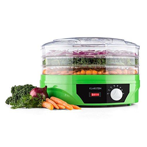 Klarstein Sunfruit - Dörrgerät, Dörrautomat, Dörrautomat, Früchtetrockner, Dehydrator, 260 Watt, 3 Etagen, stapelbar,Thermostat, Temperatur stufenlos regelbar, 35-70 °C, grün