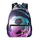 Fuego Fútbol Bola Impresión Mochila Portátil Impermeable Anti-Robo Mochila Casual Mochila Bolsa USB Puerto de Carga Mochila Unisex