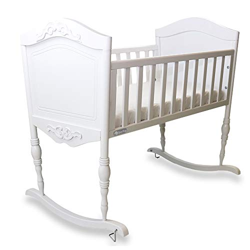 Green Frog Antique White Cradle | Handcrafted Elegant Wood Baby Cradle | Premium Pine Construction | Rocking and Stationary Features