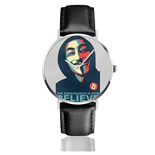 Unisex Business Casual Anonymous Renaissance V for Vendetta Believe Bitcoin Uhren Quarz Leder...